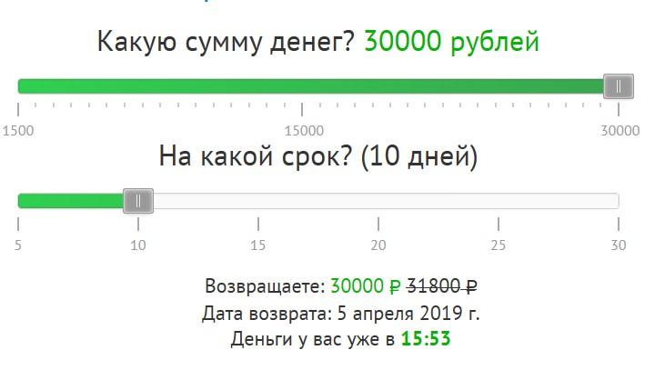 Займы до 30000 рублей на карту сроком на 12 месяцев