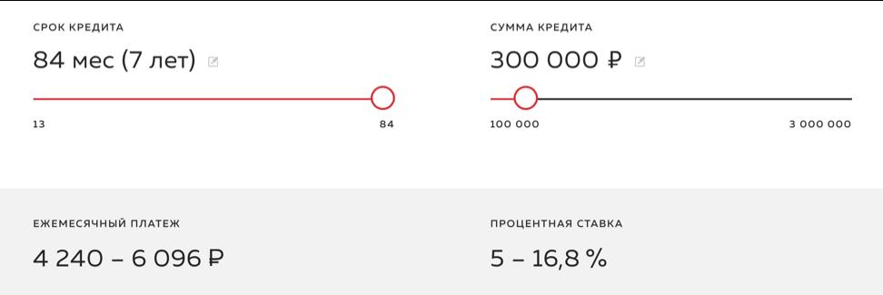Онлайн калькулятор Росбанк