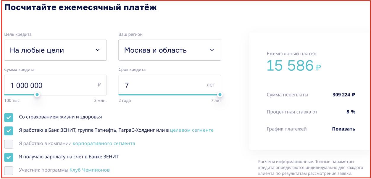 Онлайн калькулятор банка Зенит